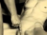 Fingering her huge labia while cumming all over her body