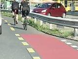 Cycling Girl in shiny leggings 1