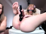 Fetish lesbian fisted deeply in her gaping box