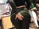 Wide & Juicy Booty trapped in Shiny Black Leggings