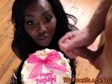 Ebony slut eats cum cake