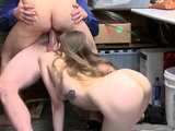 Hardcore threesome strap on punishment and police cum